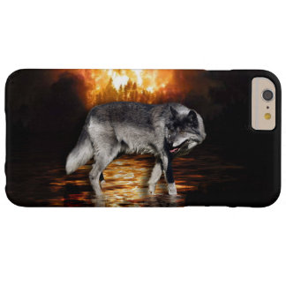 Grey Wolf Fire Flames Survivor iPhone Case Barely There iPhone 6 Plus Case