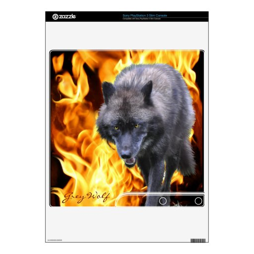 Grey Wolf & Flames Playstation 3 Skin PS3 Slim Console Skin