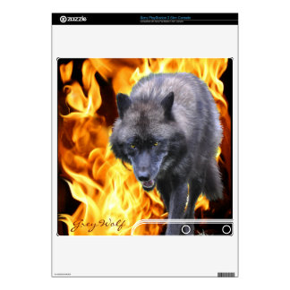 Grey Wolf & Flames Playstation 3 Skin PS3 Slim Console Decals