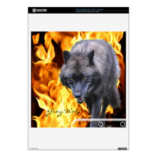 Grey Wolf & Flames Playstation 3 Skin PS3 Slim Decal