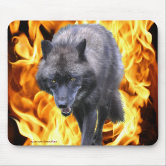 Grey Wolf & Flames Wildlife-supporter Animal Art Mouse Pad