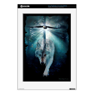 Grey Wolf, Forest & Eagle Playstation 3 Skin Decals For PS3