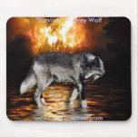 Grey Wolf & Forest Fire Mouse Pads