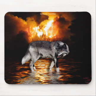Grey Wolf & Forest Fire Mousepad