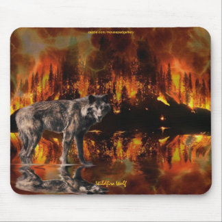 Grey Wolf & Forest Fire Survival Mousepad