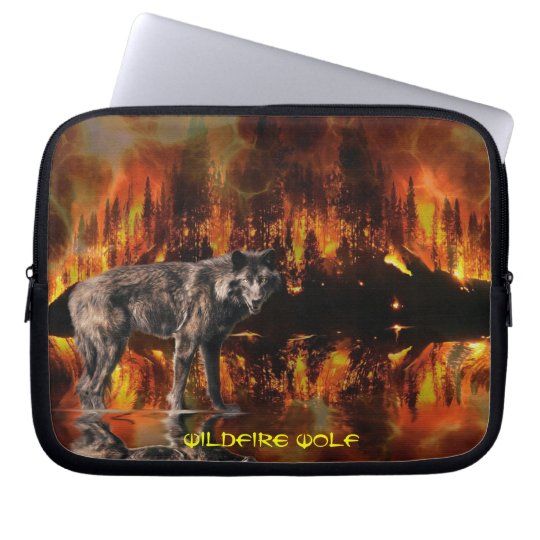 Grey Wolf & Forest Fire Survival Wildlife Art Computer Sleeve