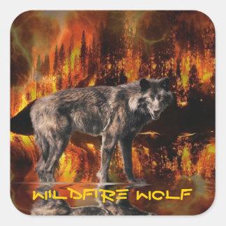 Grey Wolf & Forest Fire Survival Wildlife Art Square Sticker