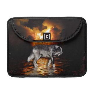 Grey Wolf & Forest Fire Wildlife  MacBook Sleeve