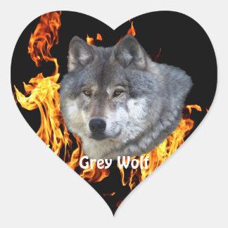 GREY WOLF & FOREST FIRE Wildlife Supporter Heart Sticker