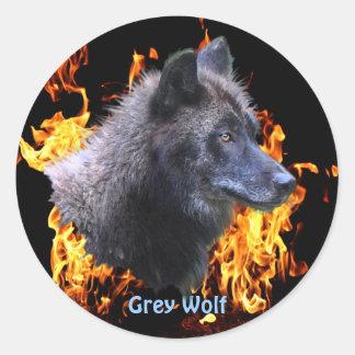 GREY WOLF & FOREST FIRE Wildlife Supporter Sticker