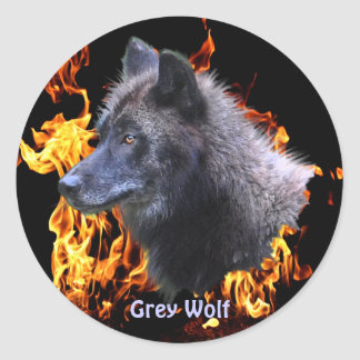 GREY WOLF & FOREST FIRE Wildlife Supporter Round Sticker