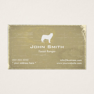 Grey Wolf Forest Ranger Old Paper Business Card