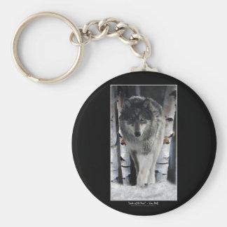 Grey Wolf & Forest Snow Key Chain
