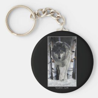 Grey Wolf & Forest Snow Keychain