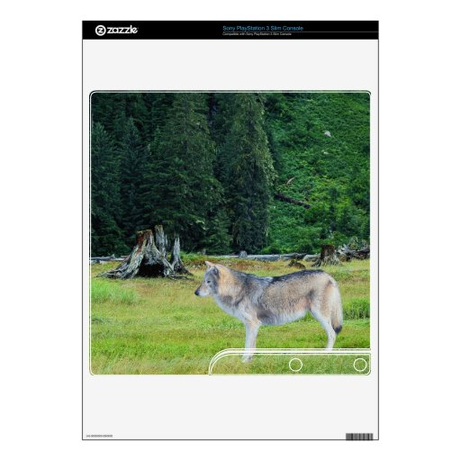Grey Wolf & Forest Wildlife Playstation 3 Skin Skins For The PS3 Slim