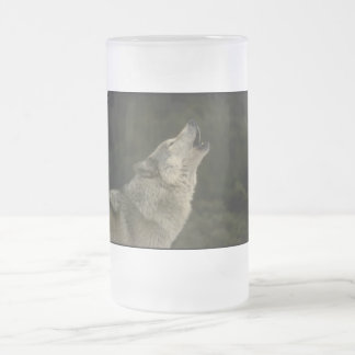 Grey Wolf Frosted Glass Beer Mug