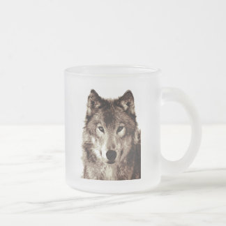 Grey Wolf Frosted Glass Coffee Mug