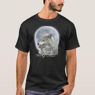 Grey Wolf & Full Moon WOLF CLAN Wildlife Art T-Shirt