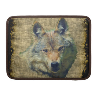 Grey Wolf Grunge Wildlife Art MacBook Sleeve