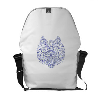 Grey Wolf Head Mono Line Courier Bag