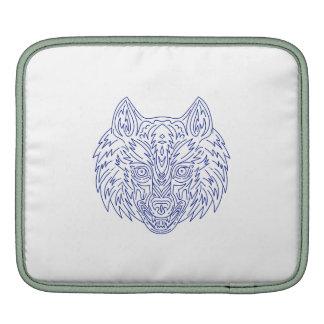 Grey Wolf Head Mono Line Sleeve For iPads