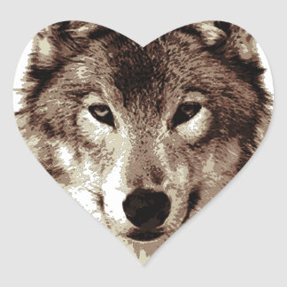 Grey Wolf Heart Sticker