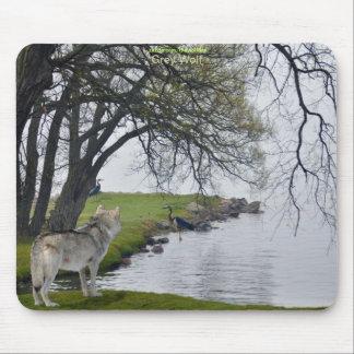 Grey Wolf & Herons by Lake Wildlife Mousepad