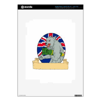 Grey Wolf Holding Bomb Union Jack Drawing Decal For iPad 3