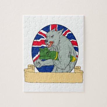 Grey Wolf Holding Bomb Union Jack Drawing Jigsaw Puzzle