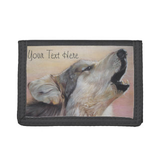 Grey wolf howling original wildlife art painting trifold wallet