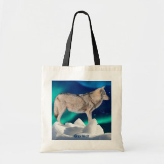 Grey Wolf, Ice, Aurora & Stars Tote Bag Collection