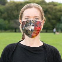 Grey Wolf in Beautiful Red and Yellow Foliage Cloth Face Mask