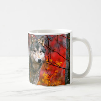 Grey Wolf in Beautiful Red and Yellow Foliage Coffee Mug