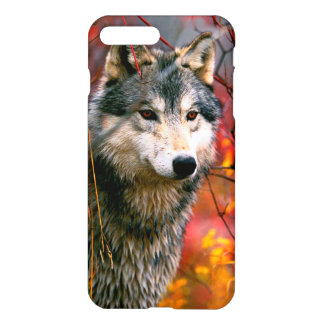Grey Wolf in Beautiful Red and Yellow Foliage iPhone 7 Plus Case