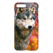 Grey Wolf in Beautiful Red and Yellow Foliage iPhone 8 Plus/7 Plus Case
