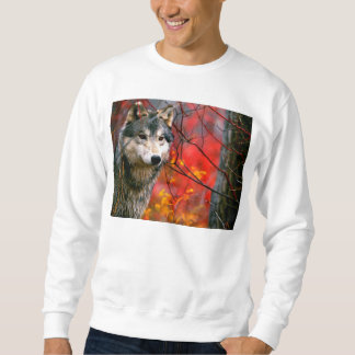 Grey Wolf in Beautiful Red and Yellow Foliage Sweatshirt