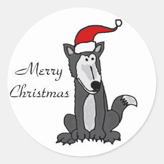 Grey Wolf in Santa Hat Art Classic Round Sticker