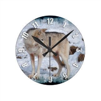 Grey Wolf in Winter Snow Wildlife Photo Round Clock