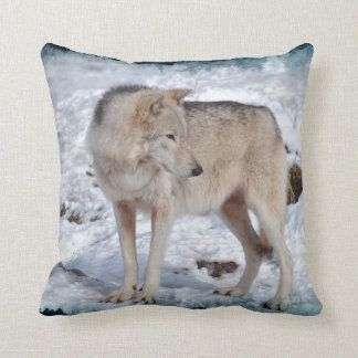 Grey Wolf in Winter Snow Wildlife Photo Throw Pillow