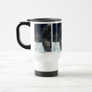 Grey Wolf & Inukshuk Drinking Mug