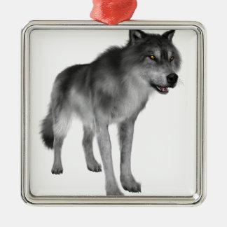 Grey Wolf Metal Ornament