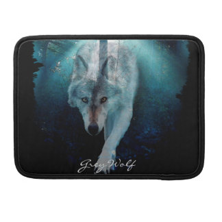 Grey Wolf & Misty Forest Wildlife MacBook Sleeve