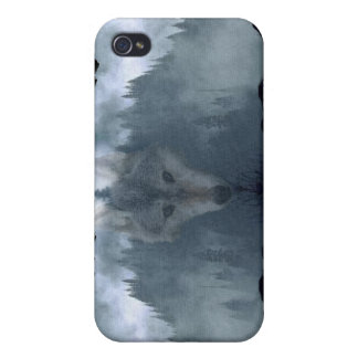 Grey Wolf & Misty Mountain Wildlife iPhone Case iPhone 4/4S Covers
