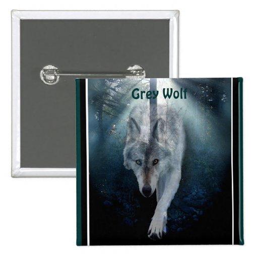 Grey Wolf & Misty Trees Wildlife-lover Button