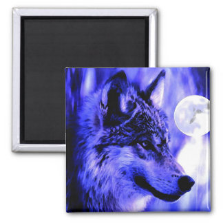 Grey Wolf & Moon 2 Inch Square Magnet