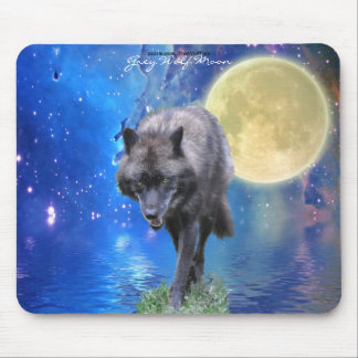 Grey Wolf & Moon Fantasy Art Wildlife-lover Mouse Pad