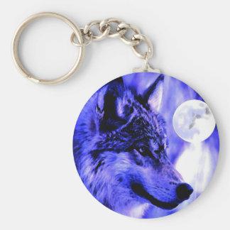 Grey Wolf & Moon Keychain