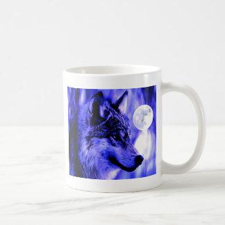 Grey Wolf & Moon Coffee Mug