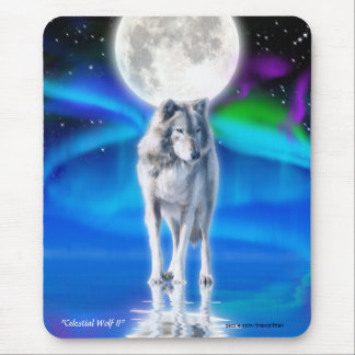 Grey Wolf, Moon & Northern Lights Fantasy Mousepad
