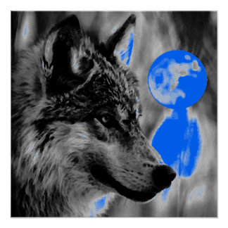 Grey Wolf & Moon Poster